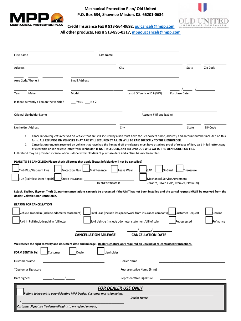 Mechanical Protection Plan Cancellation Form - Fill Out ...