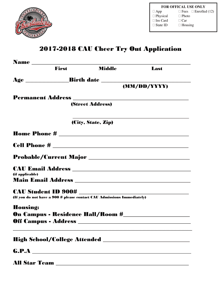 Get And Sign CAU Cheer Try Out Application  Clark Atlanta University 2018-2021 Form