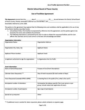 Get And Sign Use Of Facilities Agreement Pasco County Schools 2015-2021 Form