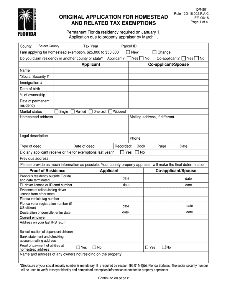 Get And Sign Florida Homestead Application Form 2018-2021