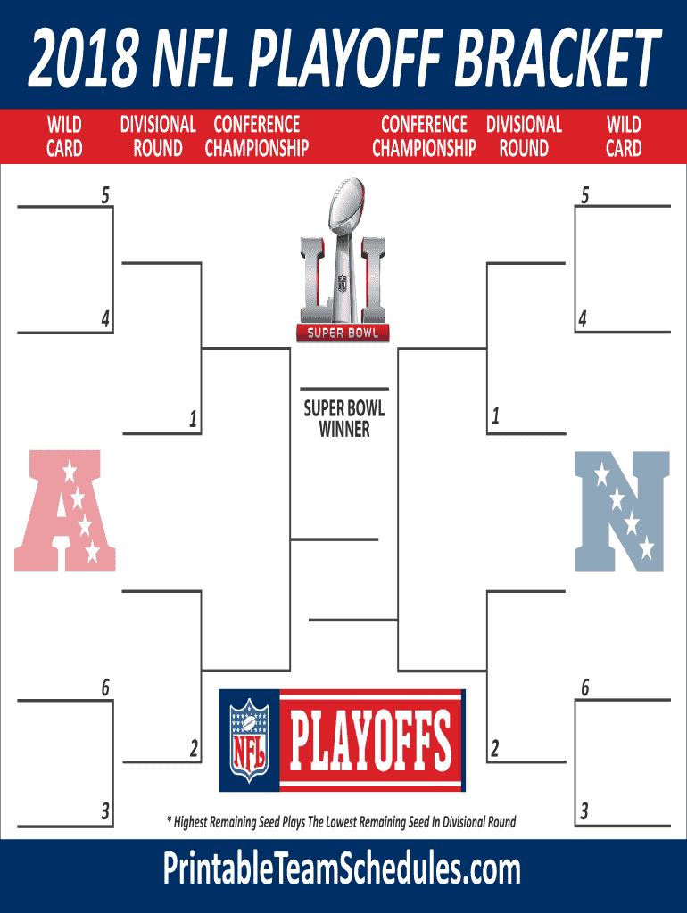 Editable Nfl Playoff Bracket 2020 Fill Out And Sign Printable Pdf Template Signnow
