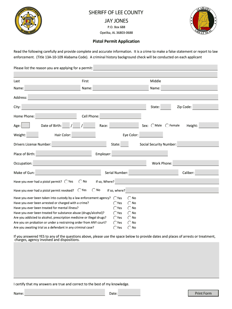 Get And Sign Lee County Al Pistol Permit Form