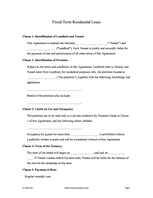 Fixed Term Residential Lease Form Fill Out And Sign