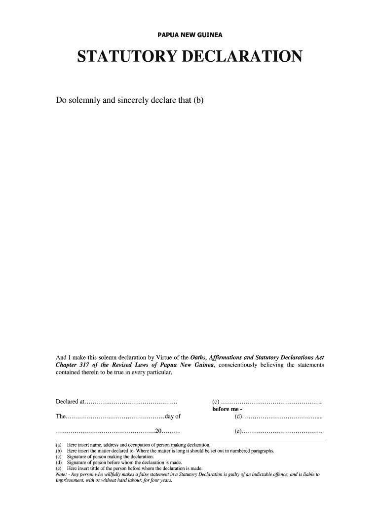 Declaration Template from www.signnow.com