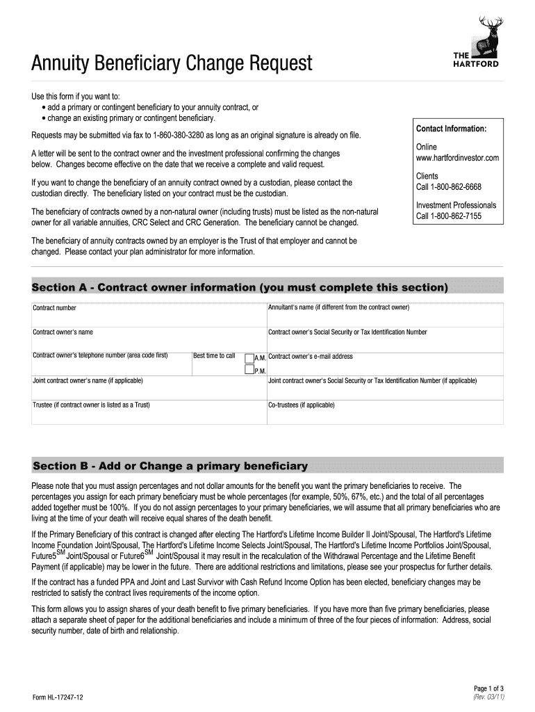 Get And Sign Annuity Beneficiary Change Request  Benefit Concepts 2011-2021 Form