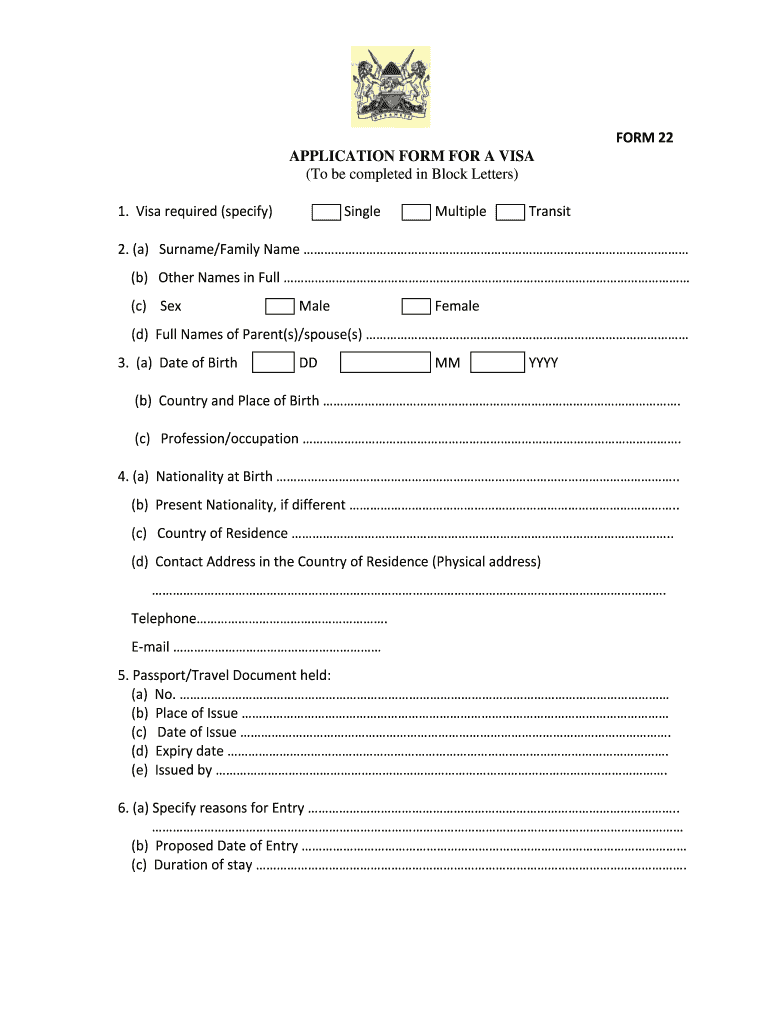 Kenya Visa Application Form Fill Out And Sign Printable Pdf Template Signnow