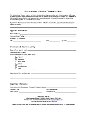 Ot observation hours form - Fill Out and Sign Printable PDF