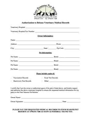 Veterinary Medical Records Release Form Fill Out And Sign