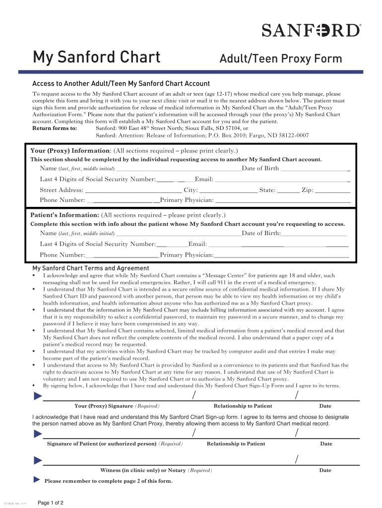 Get And Sign Sanford Mychart 2011-2021 Form