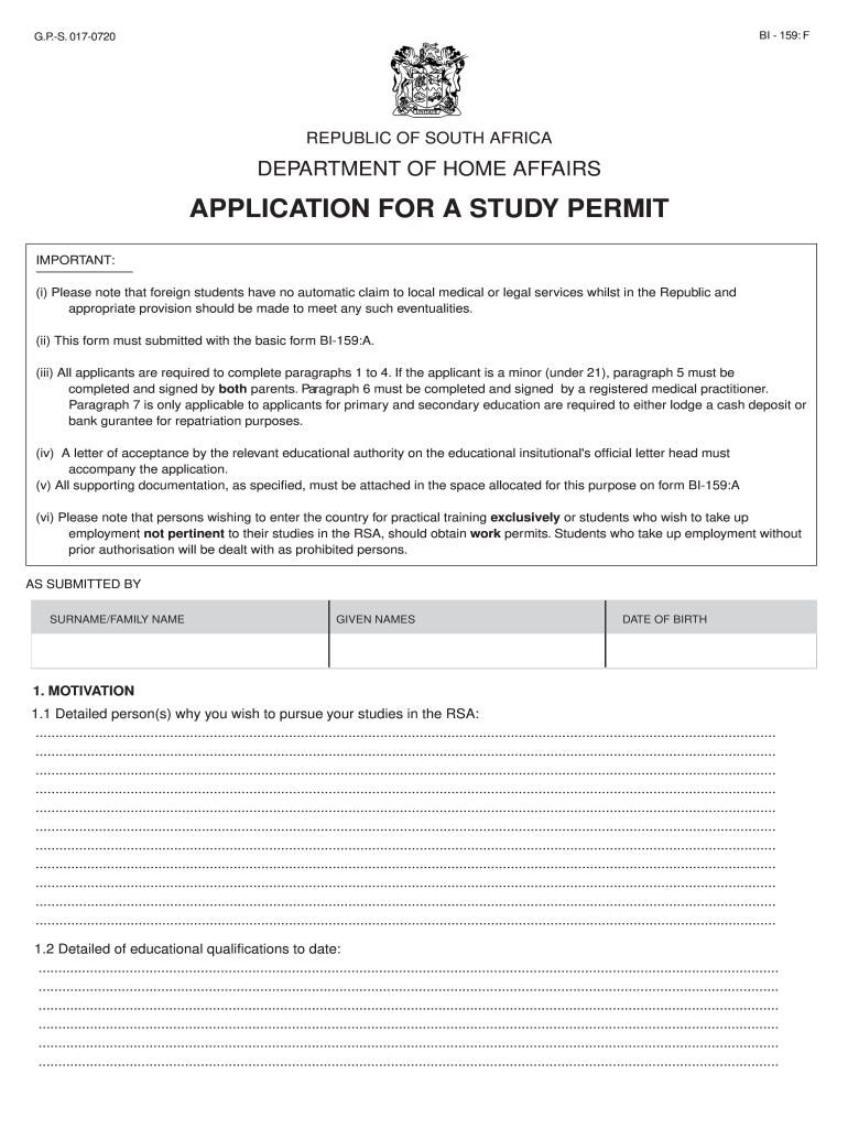 South African Study Permit Form Fill Out And Sign Printable Pdf Template Signnow
