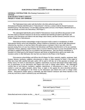 Subcontractor Lien Waiver Form Pdf Fill Out And Sign