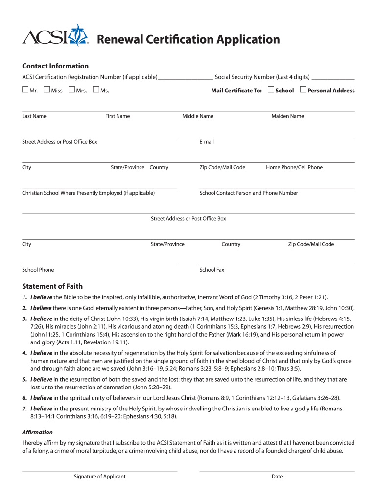 form acsi fill signnow certification renewal