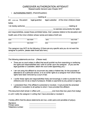Ma caregiver affidavit form - Fill Out and Sign Printable