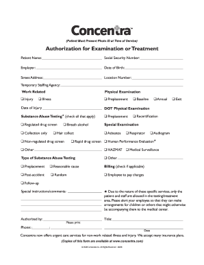 Concentra forms - Fill Out and Sign Printable PDF Template