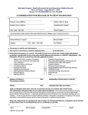 Holy spirit medical records form - Fill Out and Sign Printable PDF