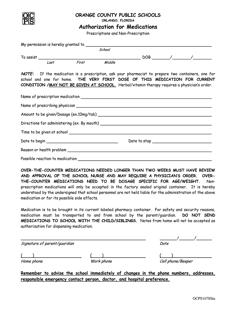 Get And Sign Ocps Medication Form