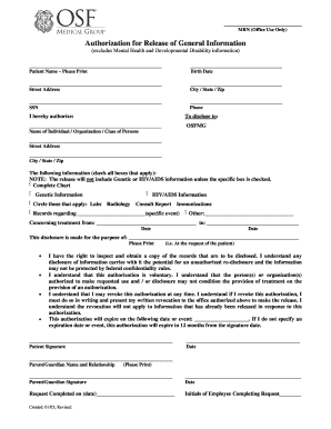 Hospital Note Osf Form Fill Out And Sign Printable Pdf
