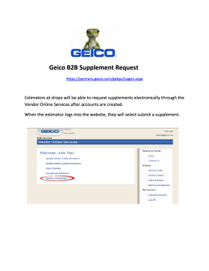 Get And Sign Geico B2B Supplement Request Form