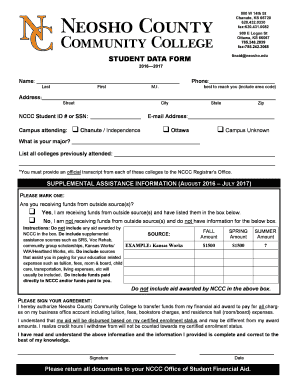 Get And Sign Neosho County Student Data Form 2016-2021