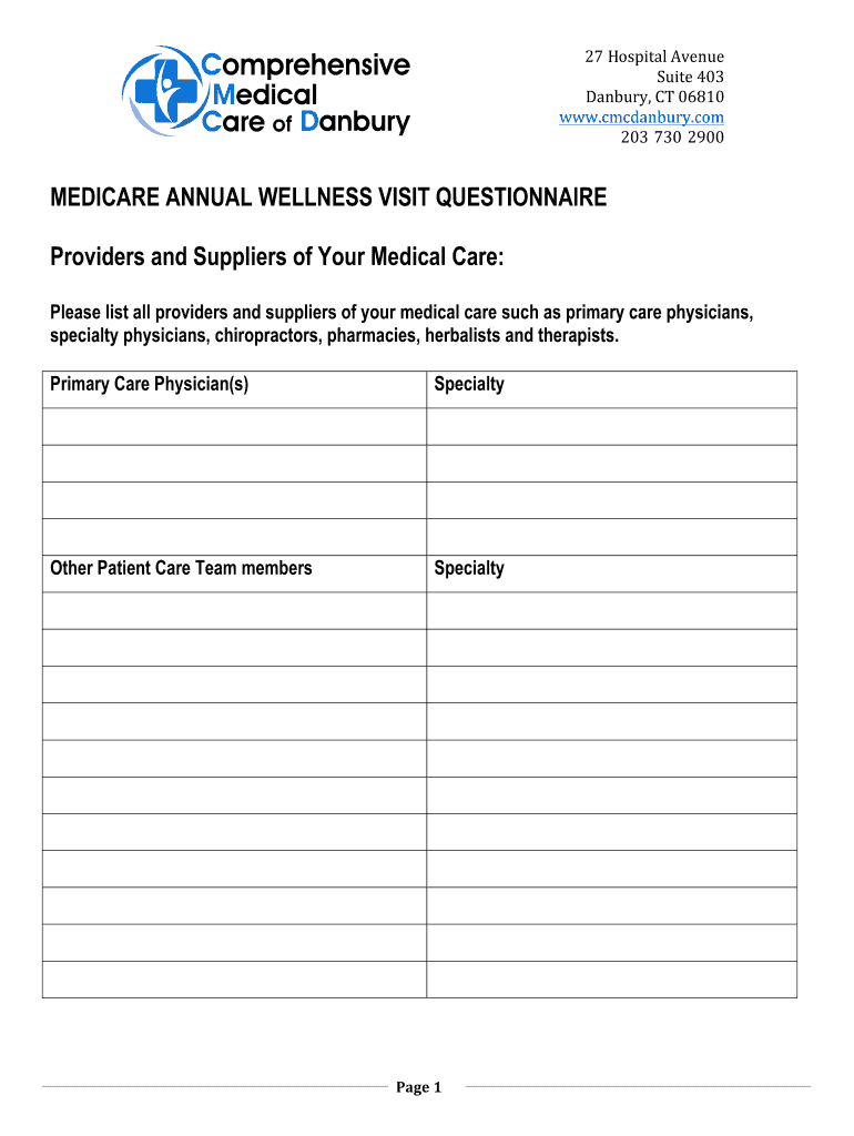Get And Sign Screening Tests For Annual Medicare Wellness Visit Form