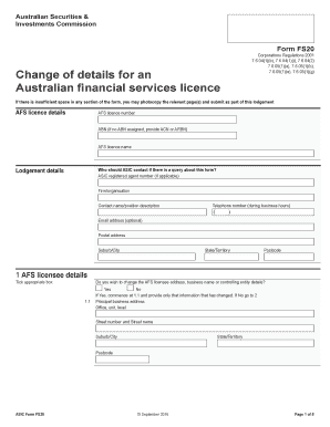 Get And Sign Asic Fs20 Online 2016-2019 Form