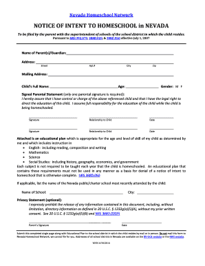 Get And Sign Intent To Homeschool Nv 2016-2021 Form