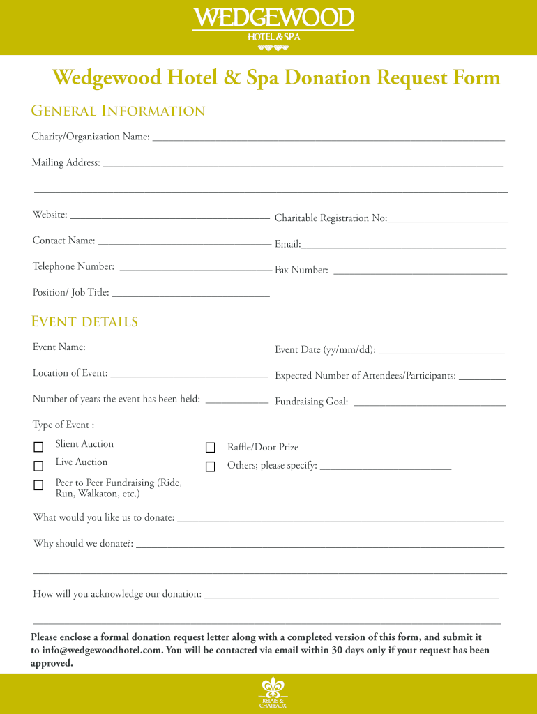 Get And Sign Wedgewood Hotel & Spa Donation Request Form
