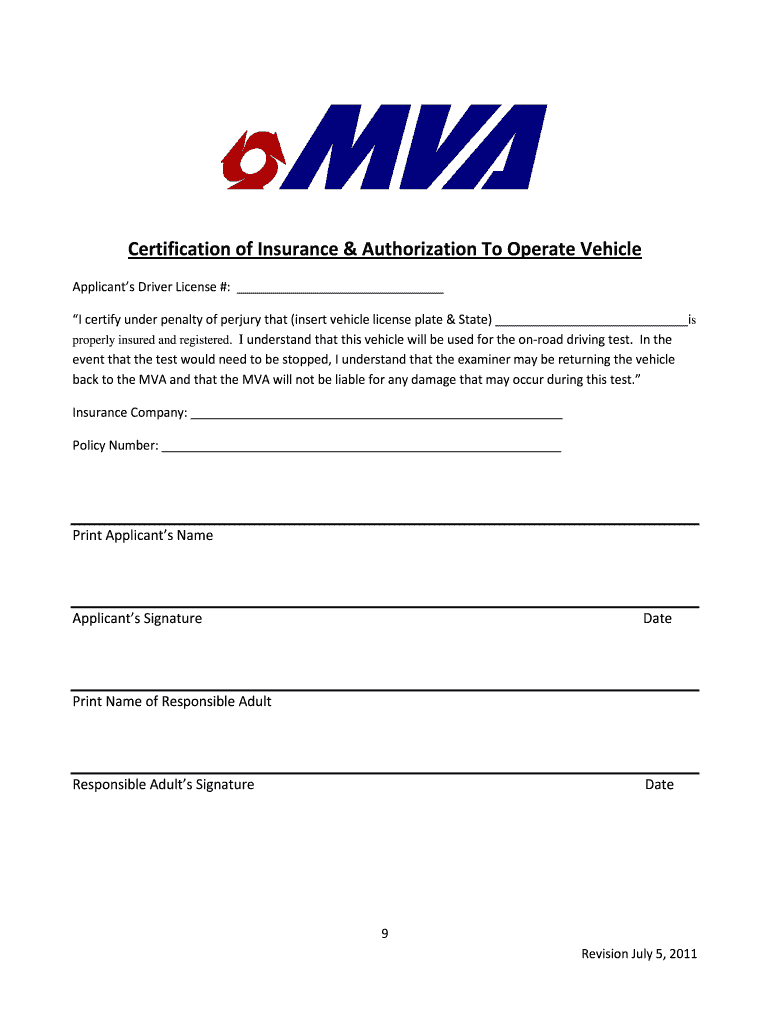 Maryland Certification Insurance - Fill Out and Sign ...