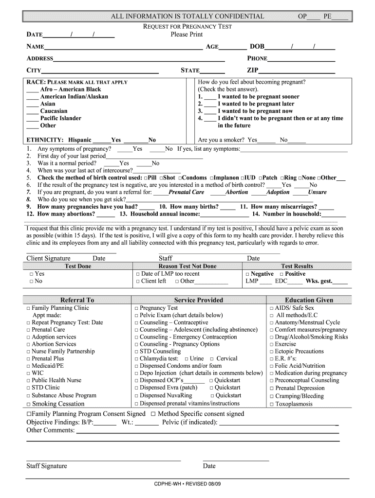 Pregnancy Test Form Fill Out And Sign Printable Pdf Template