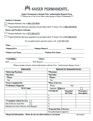 Colorado Kaiser Permanente Form Fill Out And Sign Printable Pdf