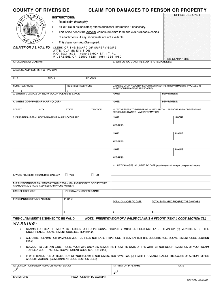 Get And Sign Claim For Damages Form Riverside County 2008-2021