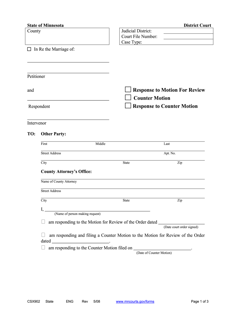 Get And Sign Response To Motion To Modify Child Support Mn 2008-2021 Form