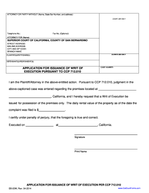 Application for issuance of writ of execution san bernardino county