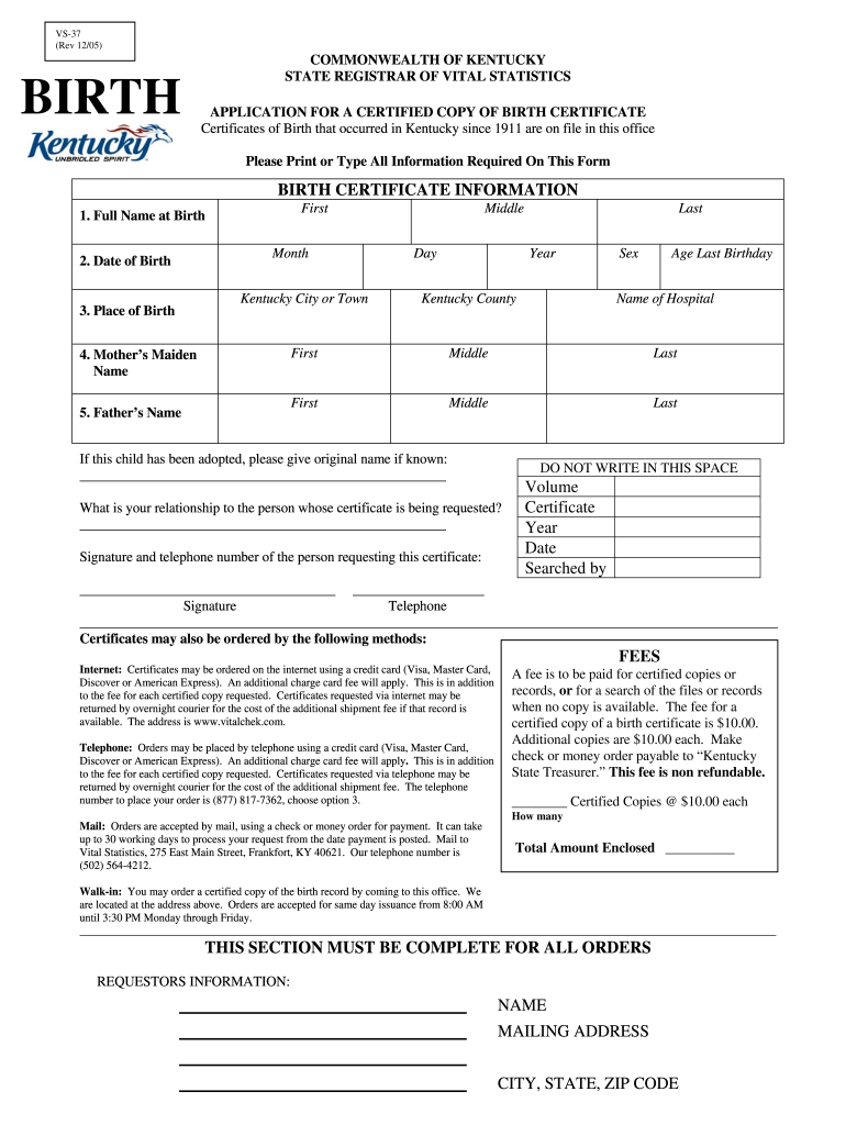 certificate birth kentucky form 2005 application pdf fill ky lincoln signnow printable blank pdffiller
