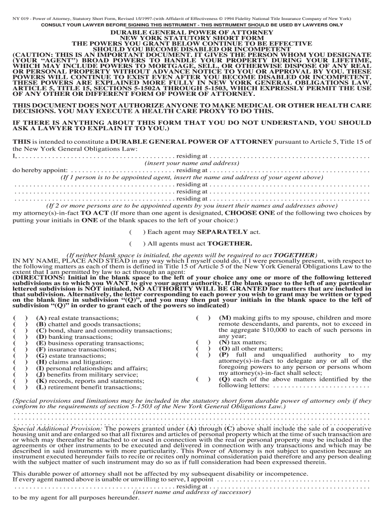 Get And Sign NY 019  Power Of Attorney, Statutory Short Form, Revised 1l