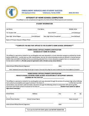 Florida homeschool completion affidavit form - Fill Out and