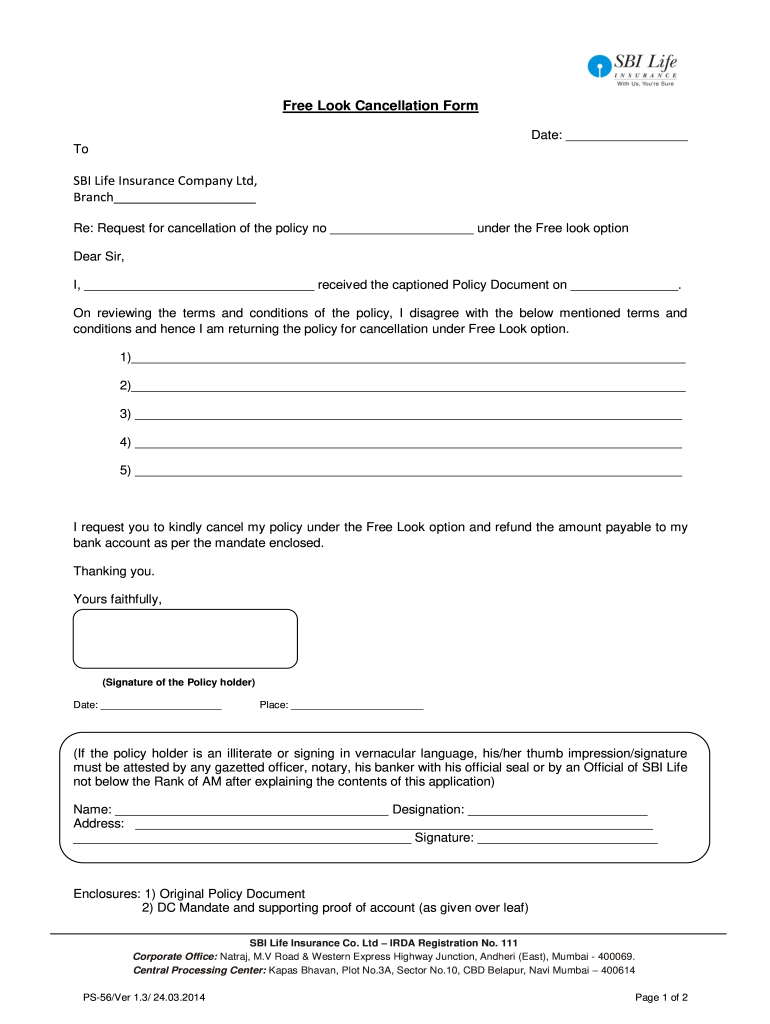 How To Cancel Sbi Life Insurance Policy - Fill Out and ...