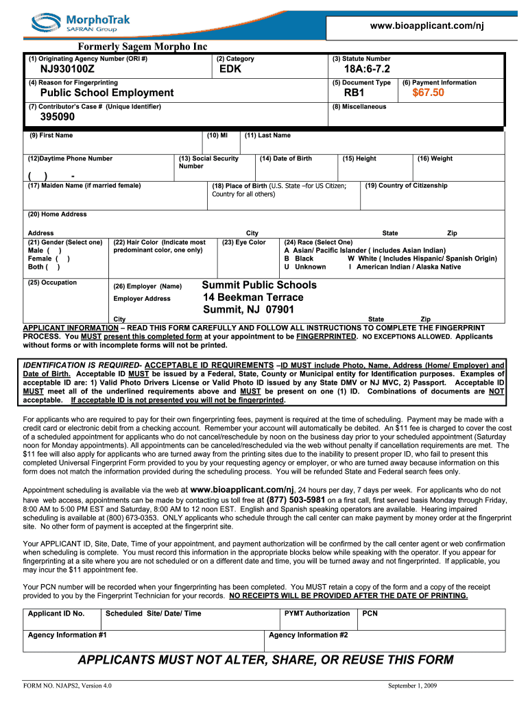 Universal fingerprint form - Fill Out and Sign Printable ...