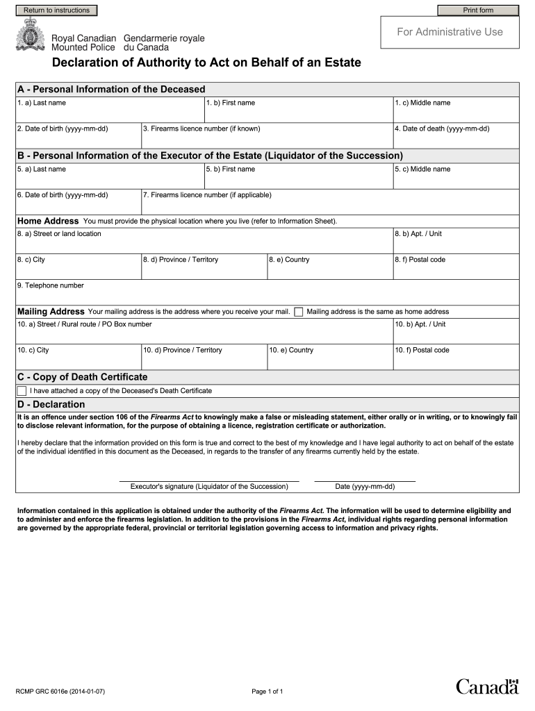 Get And Sign Rcmp Grc 6016e 2014-2021 Form