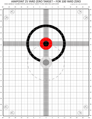 picture relating to 100 Yard Zero Target Printable identified as Buy And Indication AIMPOINT 25 Garden ZERO Concentration FOR 100 Backyard garden ZERO