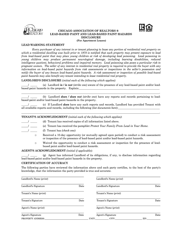 Get And Sign Chicago Association Of Realtors Lead Based Paint Disclosure Form