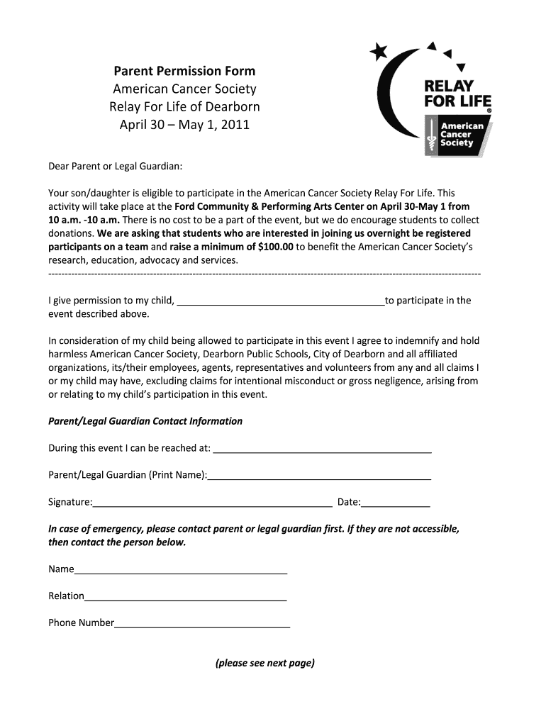 Get And Sign Relay For Life Parent Consent Form 2011-2021