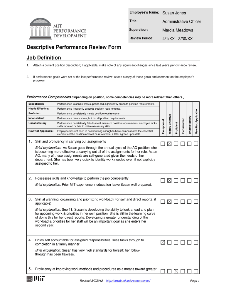 Performance Appraisal Form Filled Sample Pdf Fill Out And Sign Printable Pdf Template Signnow