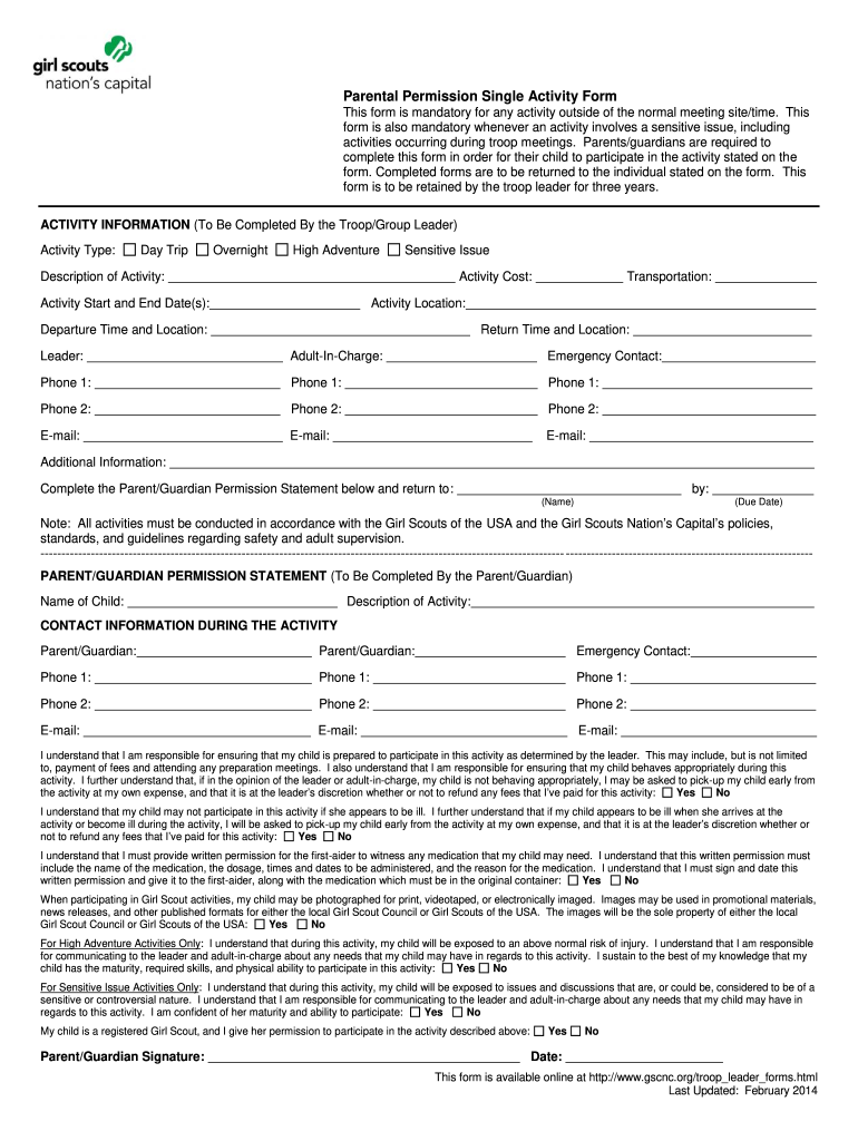 Get And Sign Parental Permission Single Activity Form  Girl Scout Council Of The    Gscnc