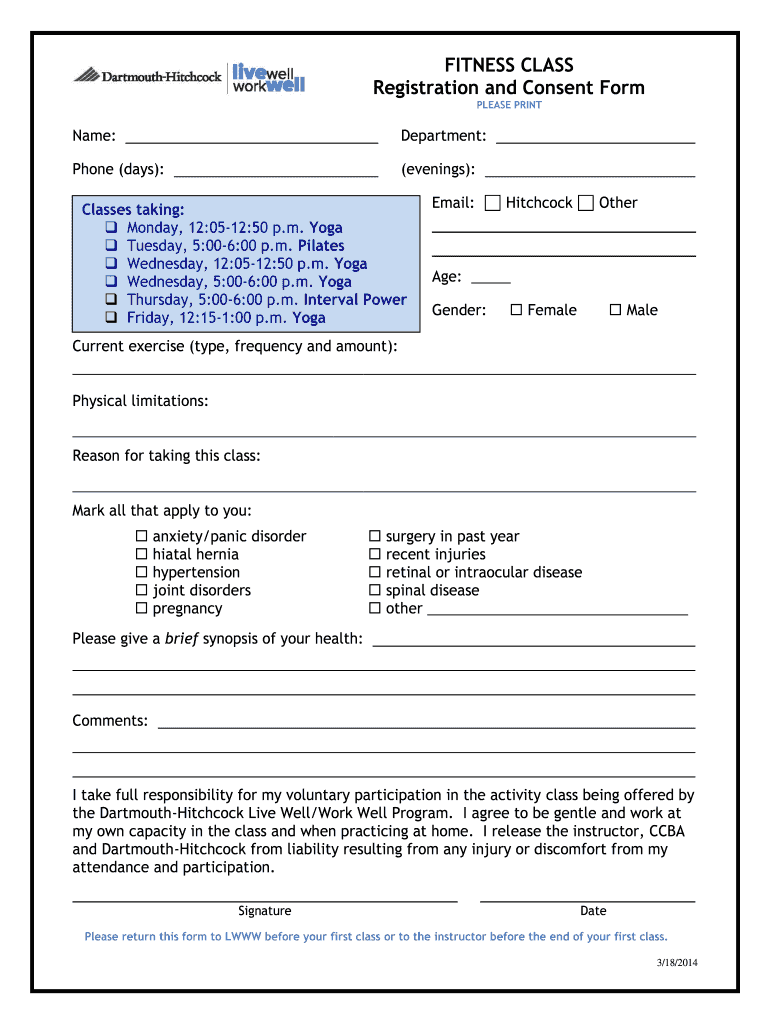 Class Registration Form Fill Out And Sign Printable Pdf Template Signnow