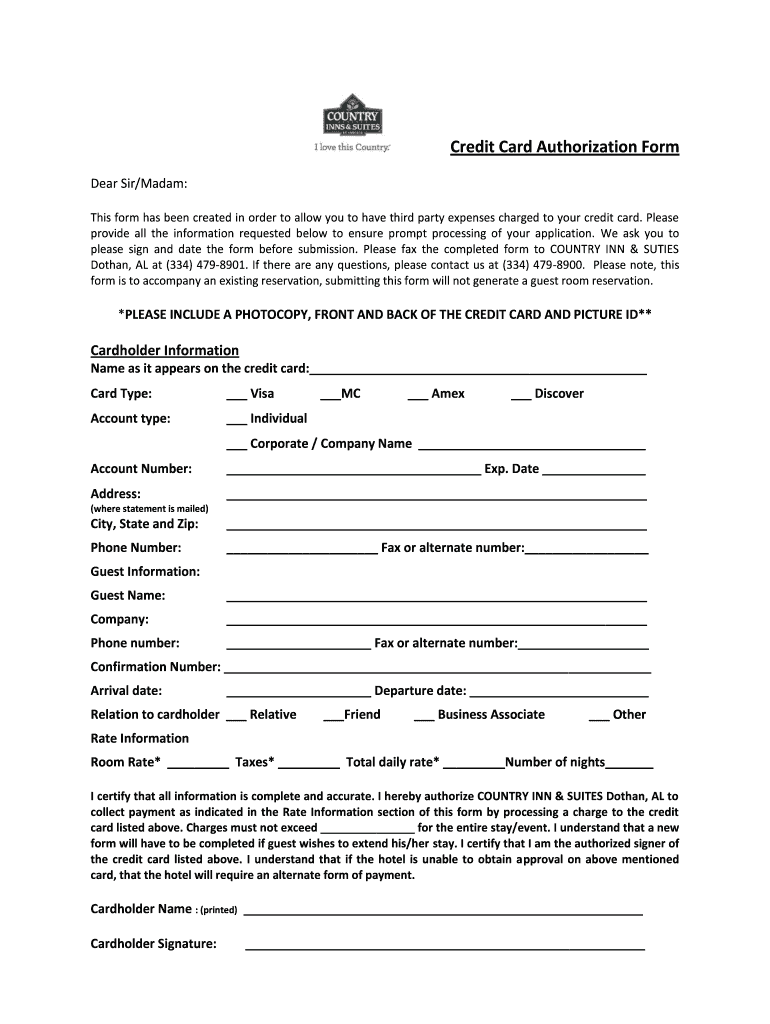 Red Roof Inn Credit Card Authorization Form Fill Out And Sign Printable Pdf Template Signnow
