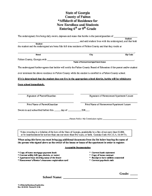 Ga Affidavit Residency Form Fill Out And Sign Printable