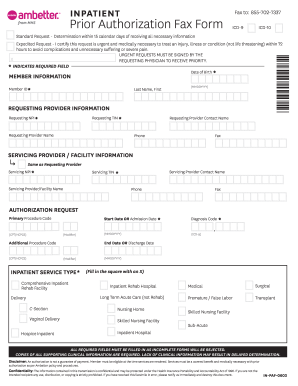 photo about Fax Form Template identify Inpatient Past Permission Fax Style - Ambetter - Fill Out