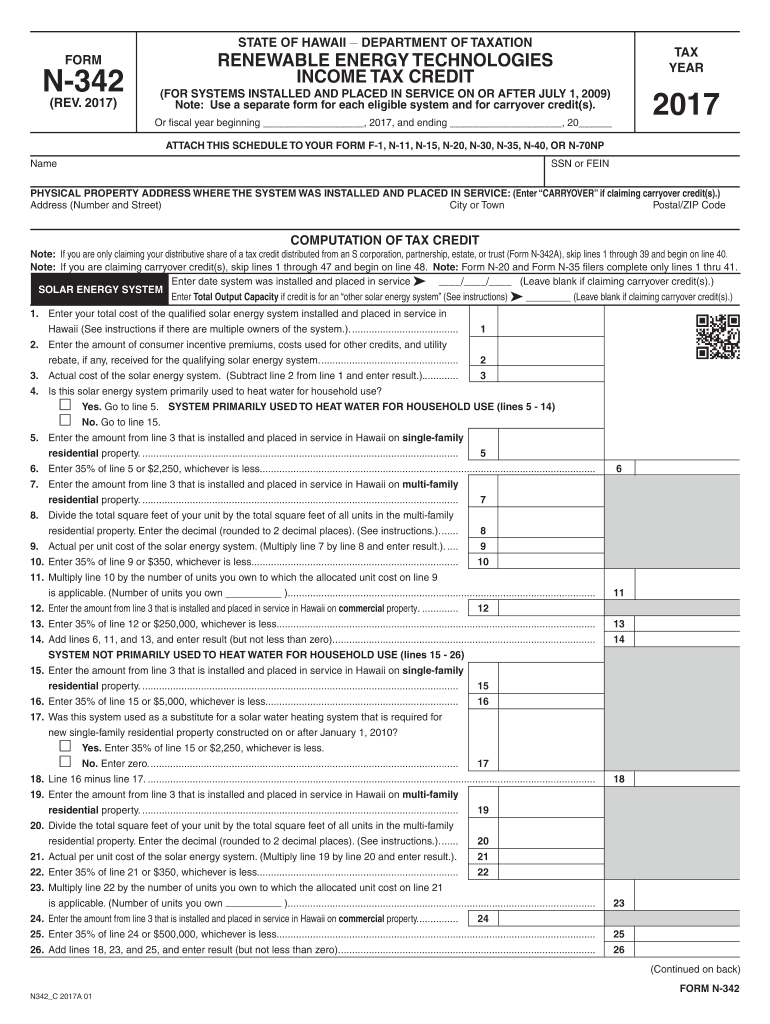 Get And Sign State Of Hawaii Form N 342 2017-2021