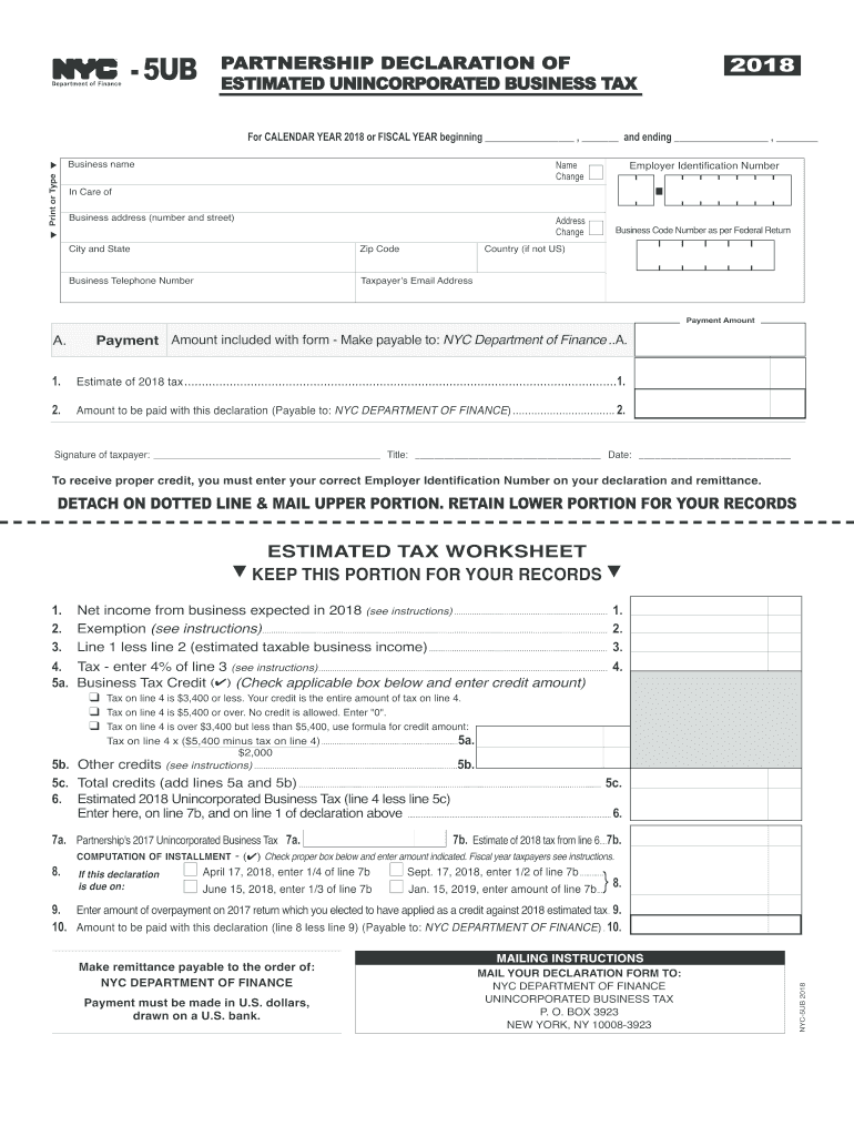 Get And Sign Nyc 5ub 2018-2021 Form
